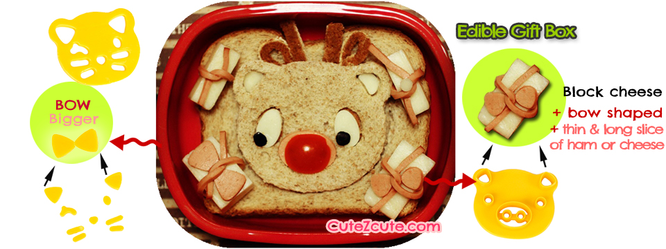 Rudolp The Red Nose Reindeer bento lunch