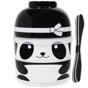 2-Tier Kids Bento Lunch Box Food Container, Baby Ninja Panda
